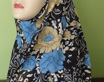 Shayla Hijab Black with Blue and Tan Floral Scarf