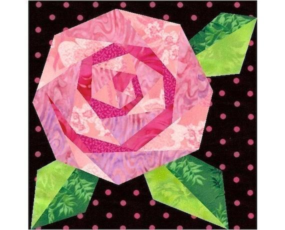 Rosie's Rose - Paper pieced quilt block pattern, PDF format