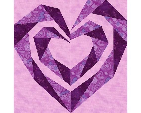 Twisting Spiral Heart Paper Pieced Quilt Block Pattern Pdf