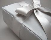 Silver Silk Satin Square Bridal Pillow