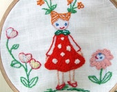 The girl who grew flowers from her ponytails-embroidery p.d.f. pattern-no shipping fee-SALE