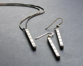 Cleopatra long Drop necklace and earrings set in oxidized Sterling Silver