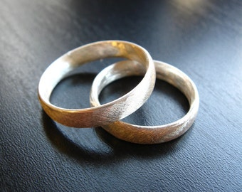 Sterling silver oval stock simple wedding band set shiny or oxidized