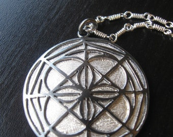 Sterling Silver Kenpo Universal Pattern Pendant Oxidized and Textured Silver with Handmade Chain