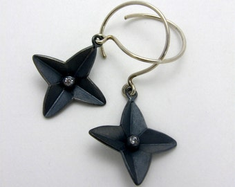 Black Star Earrings by Cristina Hurley in Sterling Silver and CZ