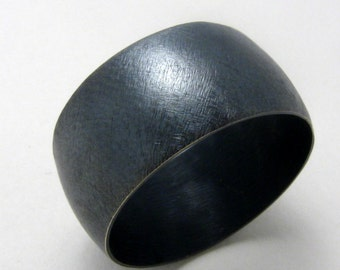 Oxidized Sterling Silver Unisex Wide Band Havanero Ring by Cristina Hurley