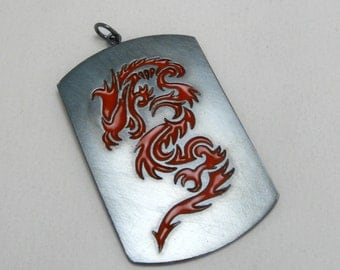 Red Dragon Kenpo inspired Pendant in oxidized Sterling Silver by Cristina Hurley