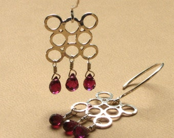 Sterling Silver Tantra Circle Earrings with Rhodolite Garnet Faceted Drops