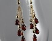 Garnet and Gold Multiple Drop Earrings