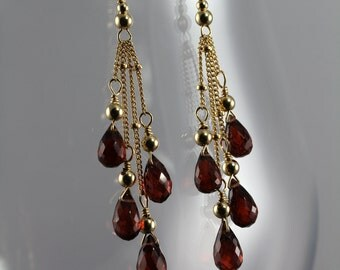 Garnet and Gold Multiple Drop Earrings