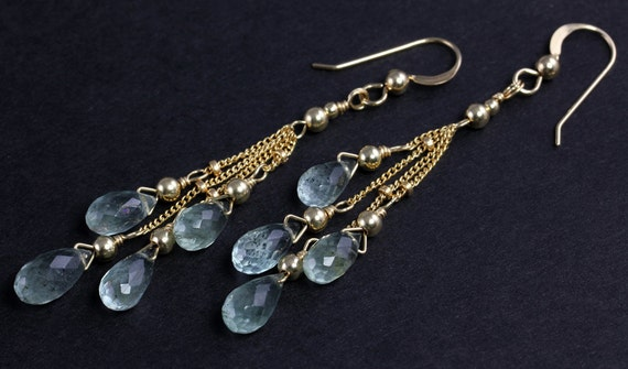 Aquamarine and Gold Multiple Drop Earrings