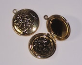 6 Round Lockets for Pendants or Zipper pull Charms Heavy Gold Plated Brass