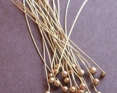 Handmade Red Brass Ball End Head Pins - 1.75 inch Inch 24 Gauge 24 Pc - Free Shipping - Nugold