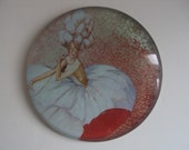 vintage vogue glass decoupage paperweight