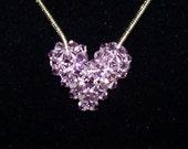 Light Amethyst Swarovski Crystal Puffy Heart