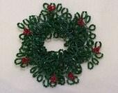 Beaded Christmas Wreath Pin