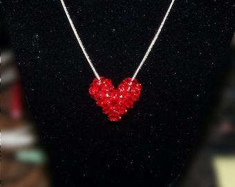 Light Siam Swarovski Crystal Puffy Heart
