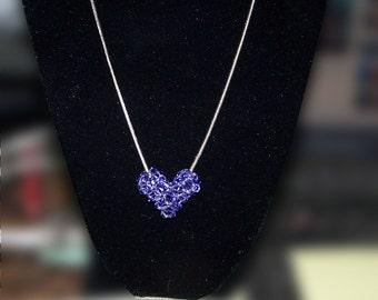 Lilac Swarovski Crystal Puffy Heart
