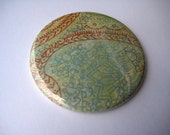 Blue and Orange Paisley 2.25 Inch Pocket Mirror