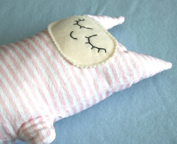 Tall Pink Stripe Minky Kitty Cat