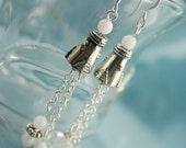 Faerie Bridal Dangle Cone Earrings with Snowy Quartz and Glass Flower Beads