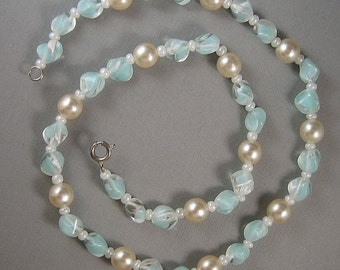"""Petite 17"""" Vintage Aqua Pinch Bead and Glass Pearl Necklace"""