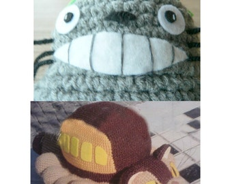 Totoro Catbus Amigurumi : 4 Amigurumi My Neighbor Totoro and Cat bus Crochet by getfun