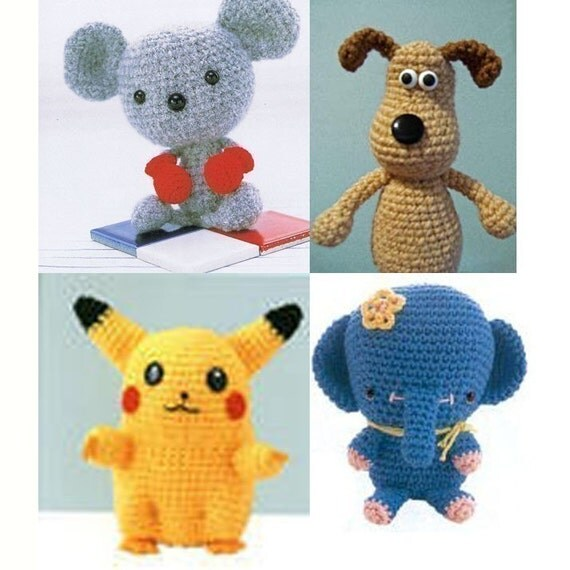 Amigurumi Crochet Pattern Collection of Pikachu Pokemon Mice Elephant Wallace Gromit