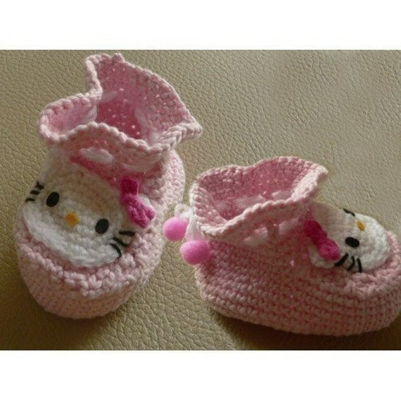 Hello Kitty Knitting Pattern Socks : Amigurumi Hello Kitty Infant Infants baby Socks Shoes bootie