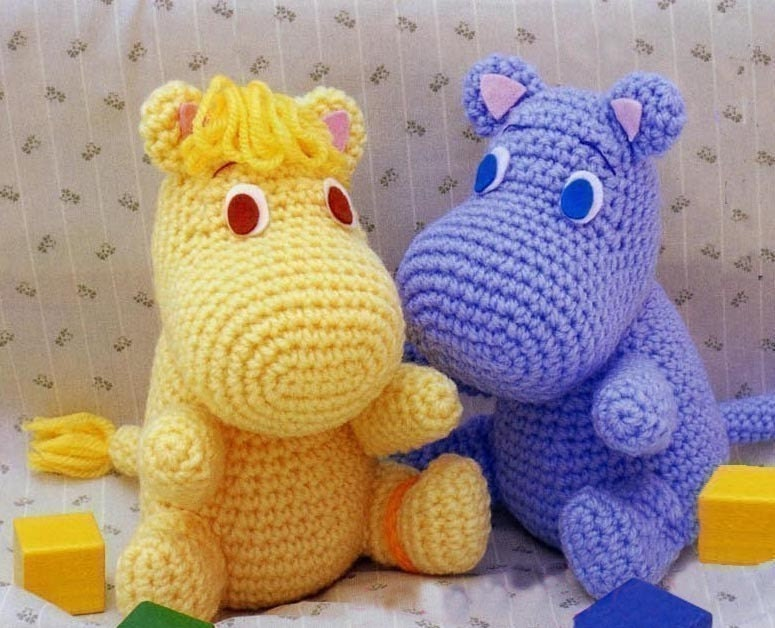 Free Crochet Patterns For Animals : Amigurumi Hippo Moomin muumi mumin snufkin crochet Pattern PDF