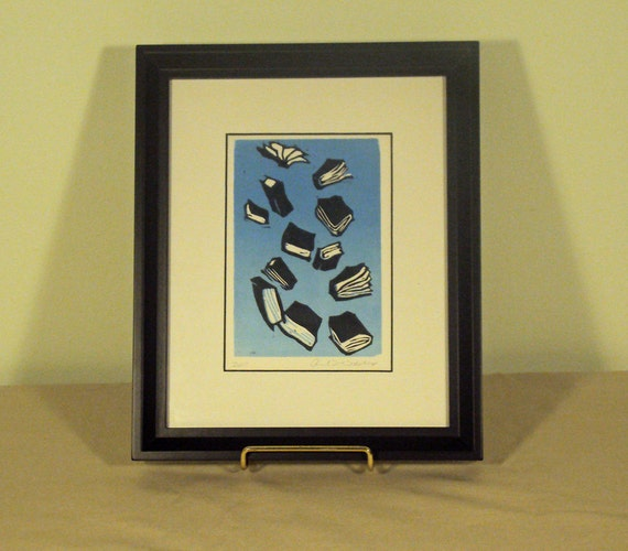 Books in the Sky, Woodblock Print, Black, White, and Blue, FRAMED Art