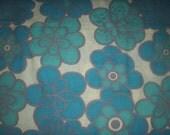 Vintage 70's cotton fabric -RETRO BLUE FLOWERS