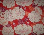 Vintage 70's cotton fabric - Retro Flowers White, Red, Pink, Wine