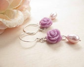 Lilac rose earrings Romantic earrings Flower earrings Mothers day jewelry - BijouxdelloStregatto