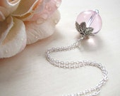 Pink Necklace - Silver 925 Chain - Silver Beads - Pink Glass Beads - Bridal