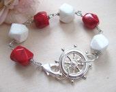 Nautical bracelet Nautical jewelry Sailor bracelet Red nautical jewelry