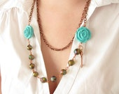 Statement necklace Spring fashion  Romantic necklace  Copper necklace -  Wire Wrapped