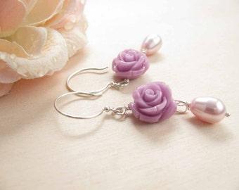 Lilac rose earrings Romantic earrings Flower earrings Mothers day jewelry