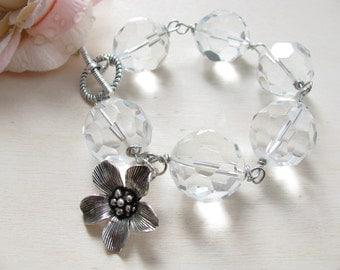 Charm Bracelet,  Flower Bracelet,   Bridal bracelet,  Crystal bracelet, Romantic bracelet, Bridal jewlery