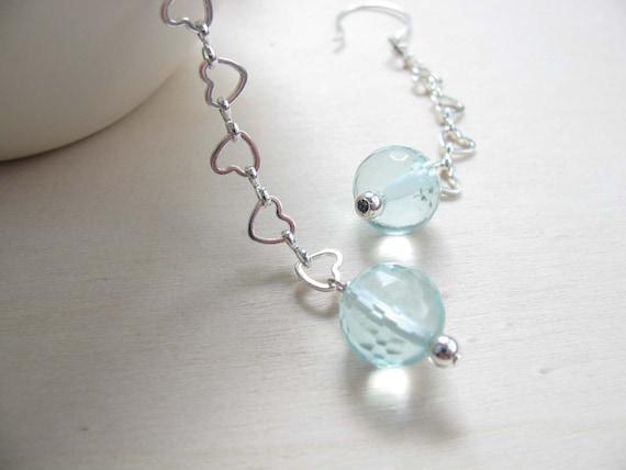Aquamarine Earrings  Aquamarine jewlery March birthstone Handmade earwires