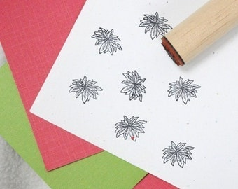 Open Poinsettia Rubber Stamp