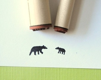 Black Bear and Cub Rubber Stamp Set
