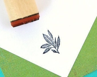 Blue Eden Leaf Rubber Stamp