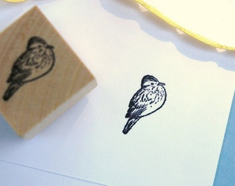 Sitting Bird  Rubber Stamp