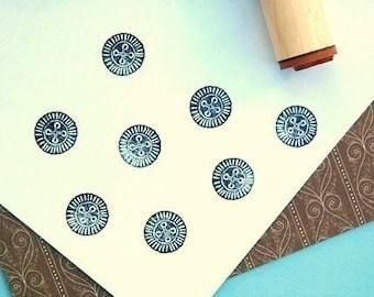 Worn Button Rubber Stamp