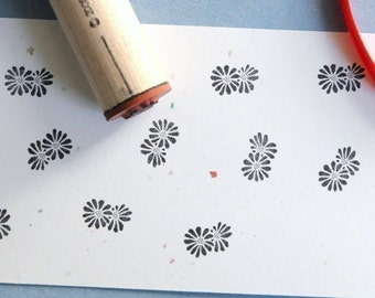 Double Daisy Rubber Stamp