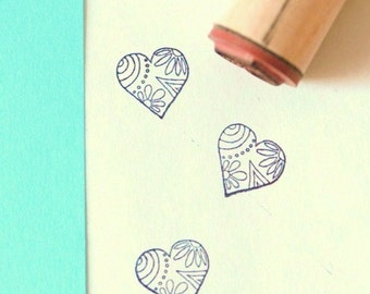 Decorative Heart Rubber Stamp