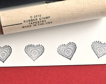 Heart Doily Rubber Stamp