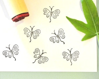Whimsical Dragonfly Rubber Stamp