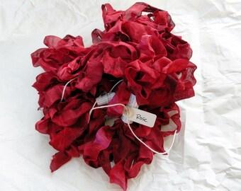 Hand Dyed Seam Binding Ribbon Rose
